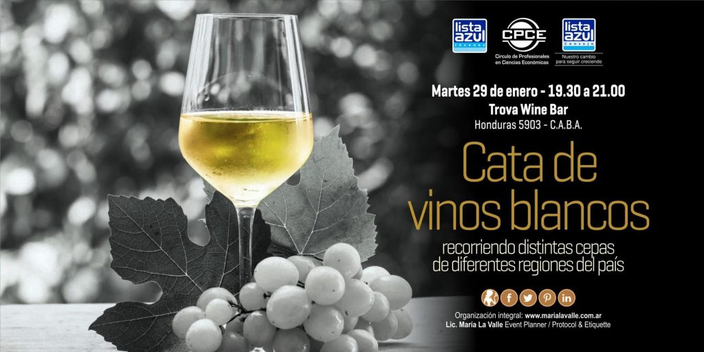 Poster with glass of white wine and grapes advertising wine tasting event of white wines from different regions of Argentina.